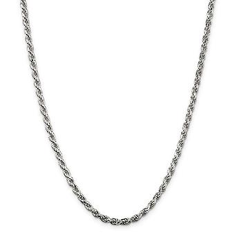 Sterling Silver Solid Polished Sparkle-Cut Lobster Claw Closure 3.5mm D-Cut Rope Chain Necklace - Lobster Claw - Length: