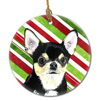 Chihuahua Candy Cane Holiday Christmas  Ceramic Ornament SC9359