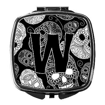 Letter W Day of the Dead Skulls Black Compact Mirror
