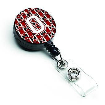 Letter O Football Cardinal and White Retractable Badge Reel