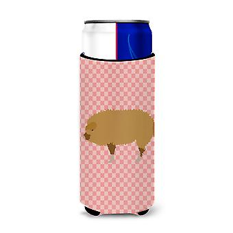 Hungarian Mangalica Pig Pink Check Michelob Ultra Hugger for slim cans