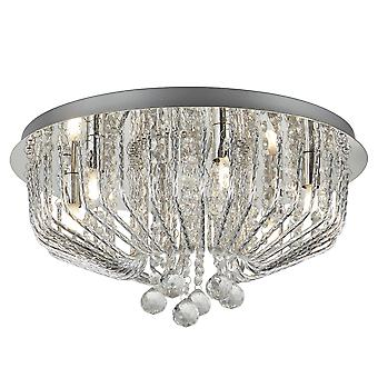 Searchlight 7786-6CC Mela Six Light Semi Flush Ceiling Light In Chrome With Round Crystal Glass