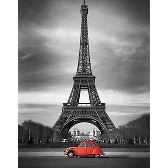 Retro Red and the Eiffel Tower Poster Print (24 x 36)
