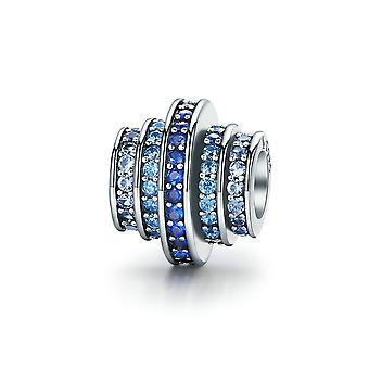 Sterling silver charm Blue wheel with zirconia SCC129