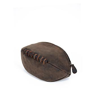 Hunter Rugby Ball Leather Wash Bag in Chocolate