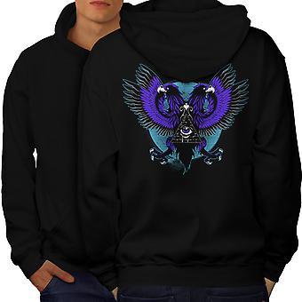 Eagle Triangle Men BlackHoodie Back | Wellcoda