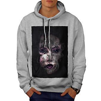 Mystery Girl Cool Fashion Men GreyHoodie | Wellcoda