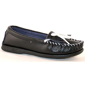 Ladies Womens Leather Slip On Smart Casual Lace Flat Loafers Shoes
