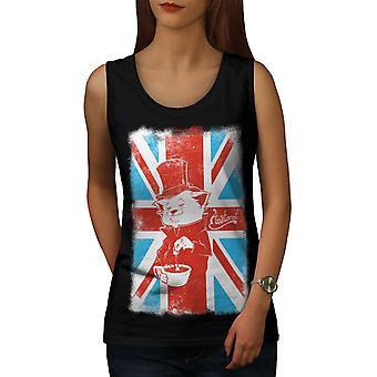 Great Britain Cat Women BlackTank Top | Wellcoda