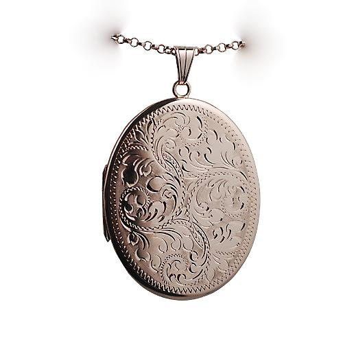 9ct Rose Gold 45x36mm hand engraved flat oval Locket with a belcher Chain 16 inches Only Suitable for Children
