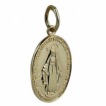 18ct Gold 16x11mm Miraculous Medallion Medal Pendant