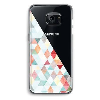 Samsung Galaxy S7 Transparent Grenzfall - farbige Dreiecke Pastell