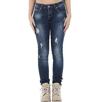 Slim Skinny Ripped Distressed Faded Diamante Sequins Denim Jeans - Blue