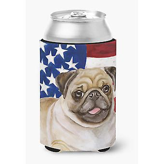 Carolines Treasures  BB9718CC Fawn Pug Patriotic Can or Bottle Hugger