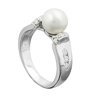 Ring pearl and zirconias silver 925