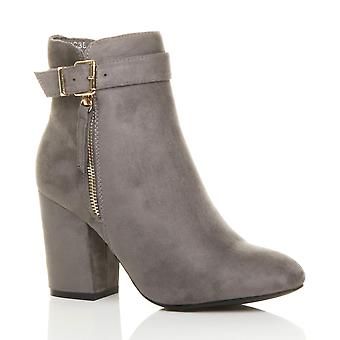 Ajvani womens block high heel gold zip buckle strap ankle boots booties