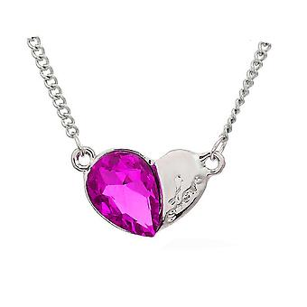 Womens Heart Silver & Hot Pink Pendant Necklace Crystal Stone BG1633