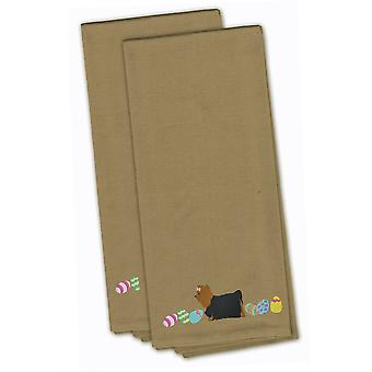 Yorkie Yorkshire Terrier Easter Tan Embroidered Kitchen Towel Set of 2
