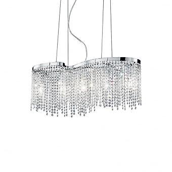 Ideal Lux Augustus Chrome Crystal 5 lampa Modern Design kristallkrona hängande