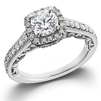 7/8ct Cushion Diamond Vintage Halo Engagement Ring 14K White Gold