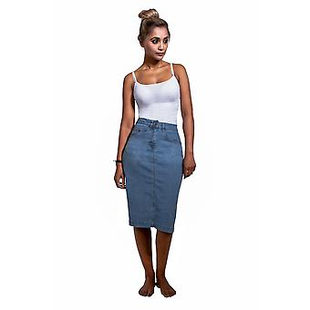 USKEES NANCY Mid-length Denim Skirt - Palewash Straight Jean Skirt with stretch