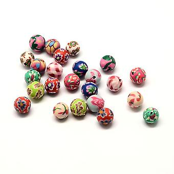 Packet 20 x Mixed Polymer Clay 11mm Plain Round Beads HA24170
