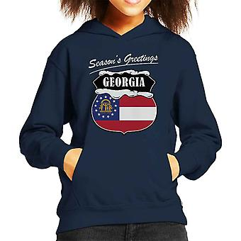 Seasons Greetings Georgia State Flag Christmas Kid's Hooded Sweatshirt