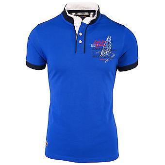 Men's short-sleeved polo shirt collar T-Shirt polo shirt watercraft blue white