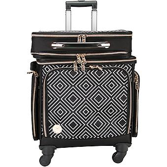 2-In-1 Crafter's 360 Rolling Bag W/Detachable Briefcase-Black & White Geometric Print