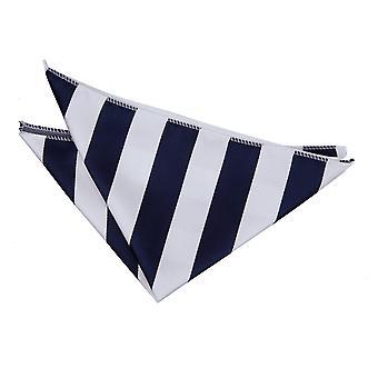 Navy / hvid stribet tørklæde / Pocket Square