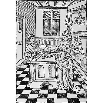 A Doctor's Prescription (woodcut) (b/w.. - Art Print