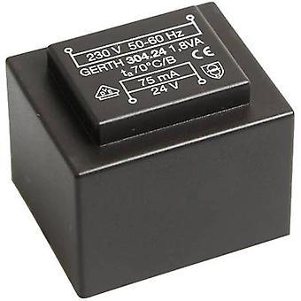 PCB mount transformer 1 x 230 V 2 x 24 V AC 1.80 VA 37 mA