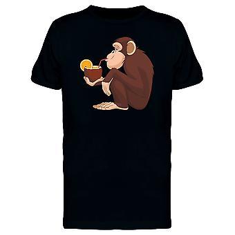 Chimpanzee Drinking Coconut Tee Men's -Image by Shutterstock