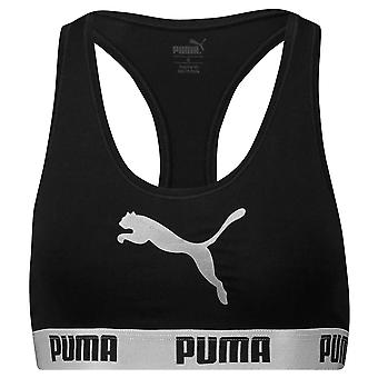 PUMA Women Cotton Modal Stretch Cat Logo Racerback Bra, Black / Silver, Small