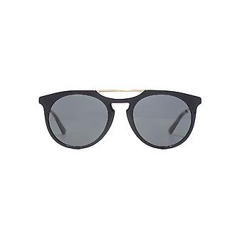 Gucci Double Keyhole Round Sunglasses In Black