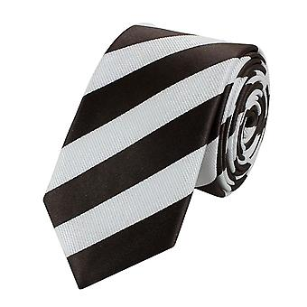Tie stropdas tie 6cm bruin Fabio Farini wit gestreepte stropdas