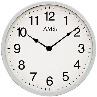 AMS 9493 wall clock quartz analog silver round plain very flat