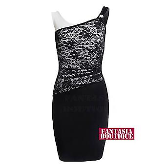 Neue Damen ärmellos Diamante Schnalle Lace Bodycon Damen Abendkleid
