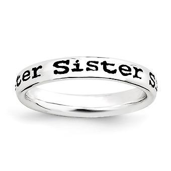 Sterling Silver mönstrad blå emalj svart emalj rodium-plated stapelbar uttryck polerad emaljerad syster Ring-