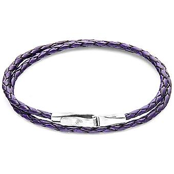 Anchor and Crew Liverpool Silver and Leather Bracelet - Grape Purple