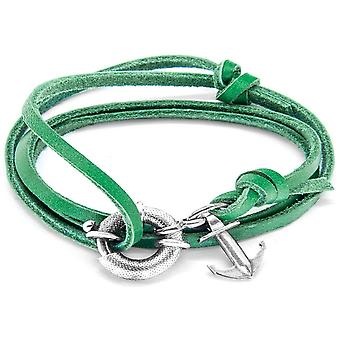 Anchor and Crew Clyde Silver and Leather Bracelet - Fern Green