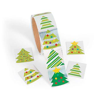 Roll of 100 Foil Christmas Trees Kids Fun Stickers | Childrens Craft Stickers