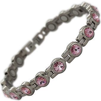 MPS® NORTHIA Titan magnetiska armband med SWAROVSKI® rosa kristaller