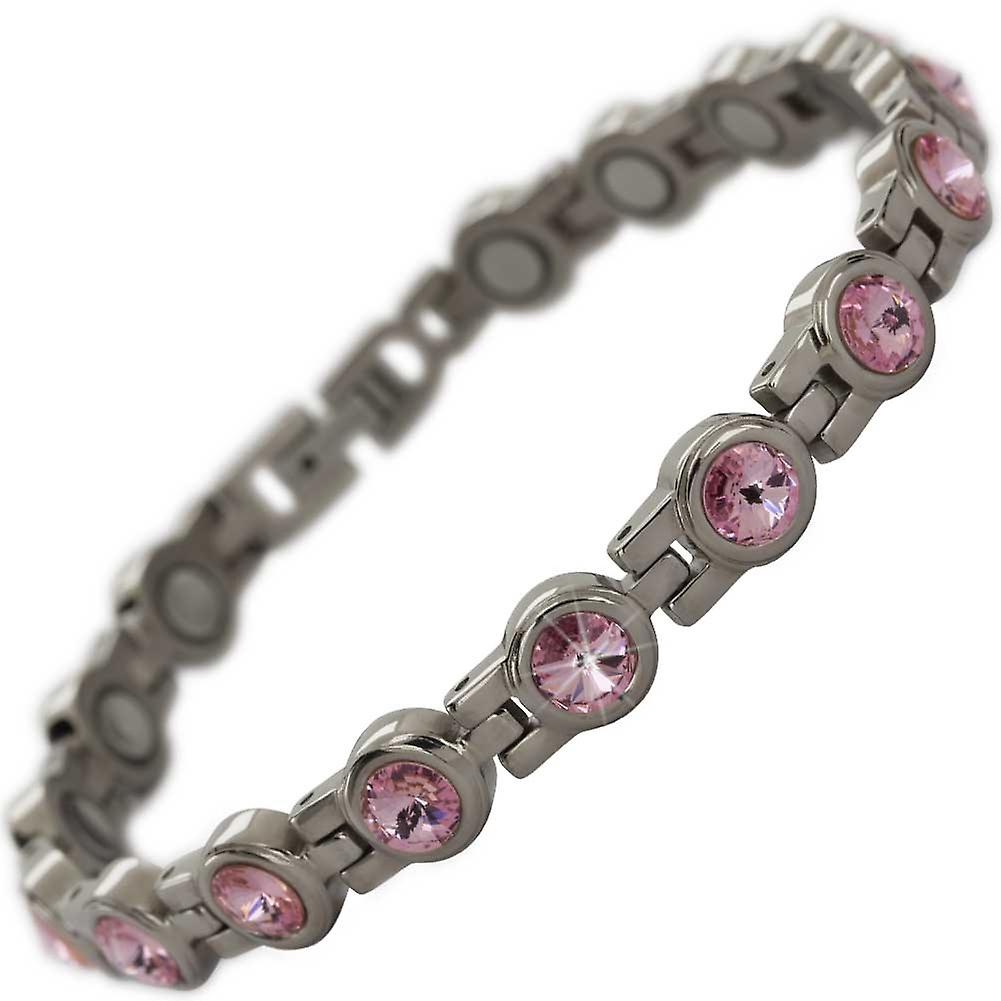 MPS® NORTHIA Titanium Magnetic Bracelet with Pink Crystals + Resizing Tool