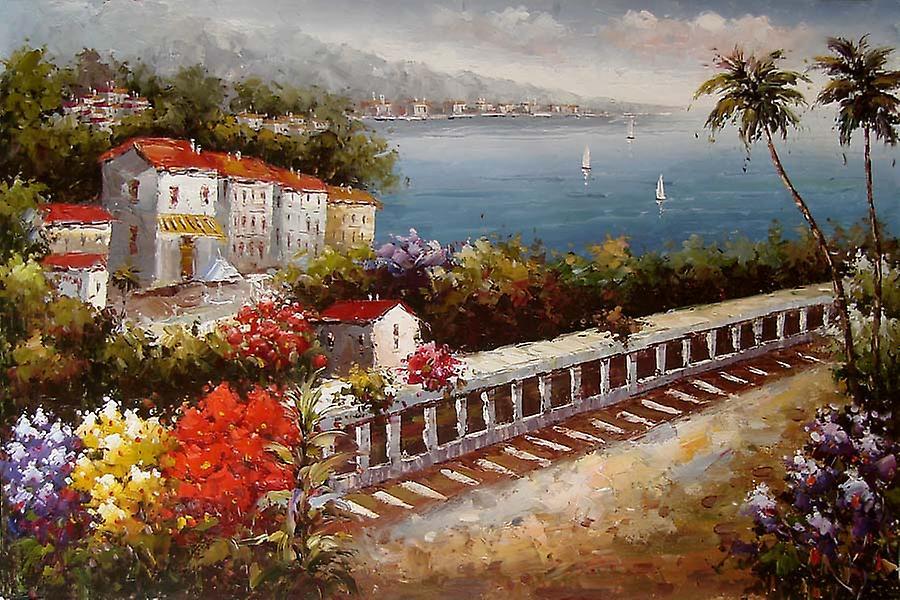 Paysage, peints à la main peinture à l'huile sur toile, 90 x 60 cm