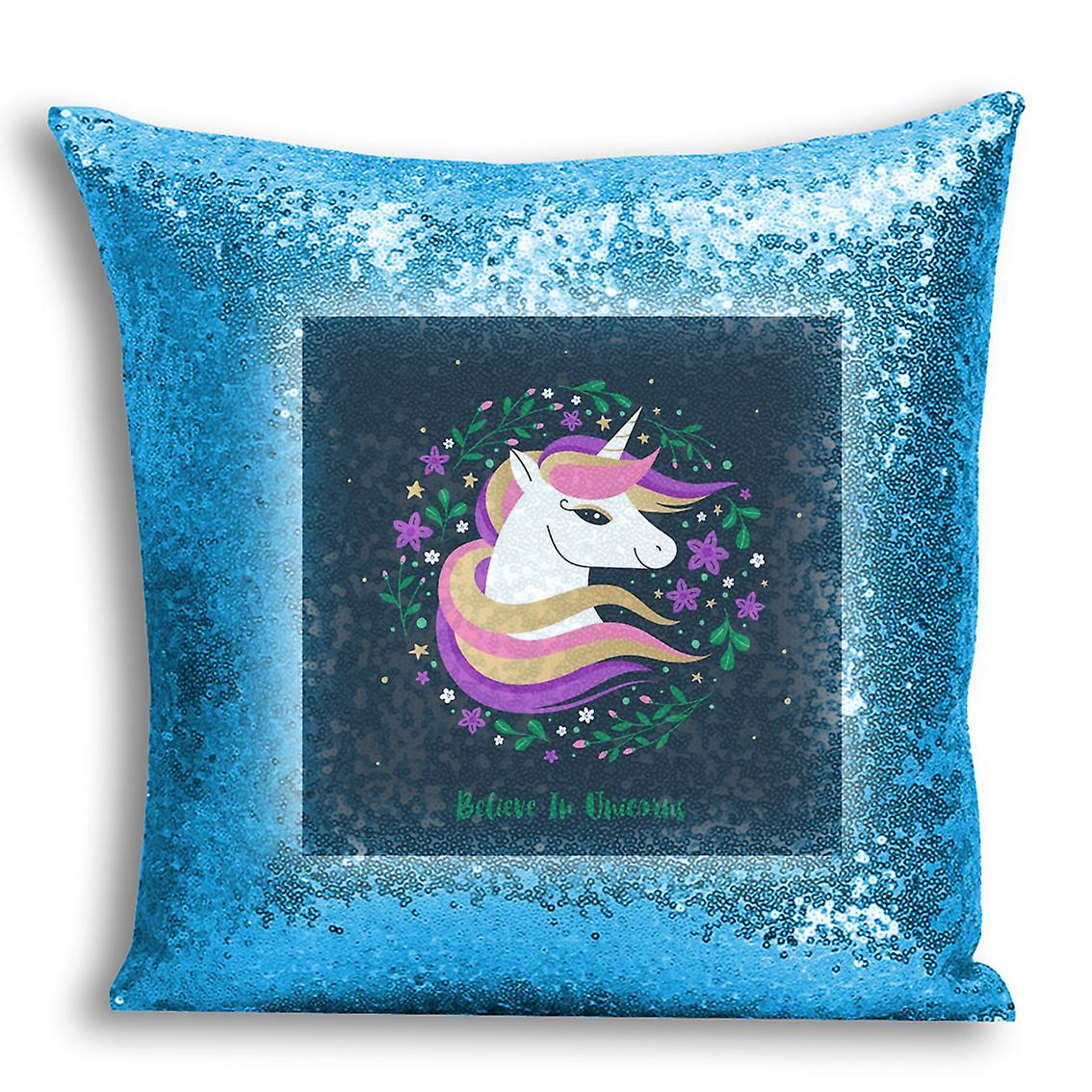 tronixsUnicorn Printed Cover Design CushionPillow I 10 With Inserted Home Decor Sequin For Blue CxWoderB