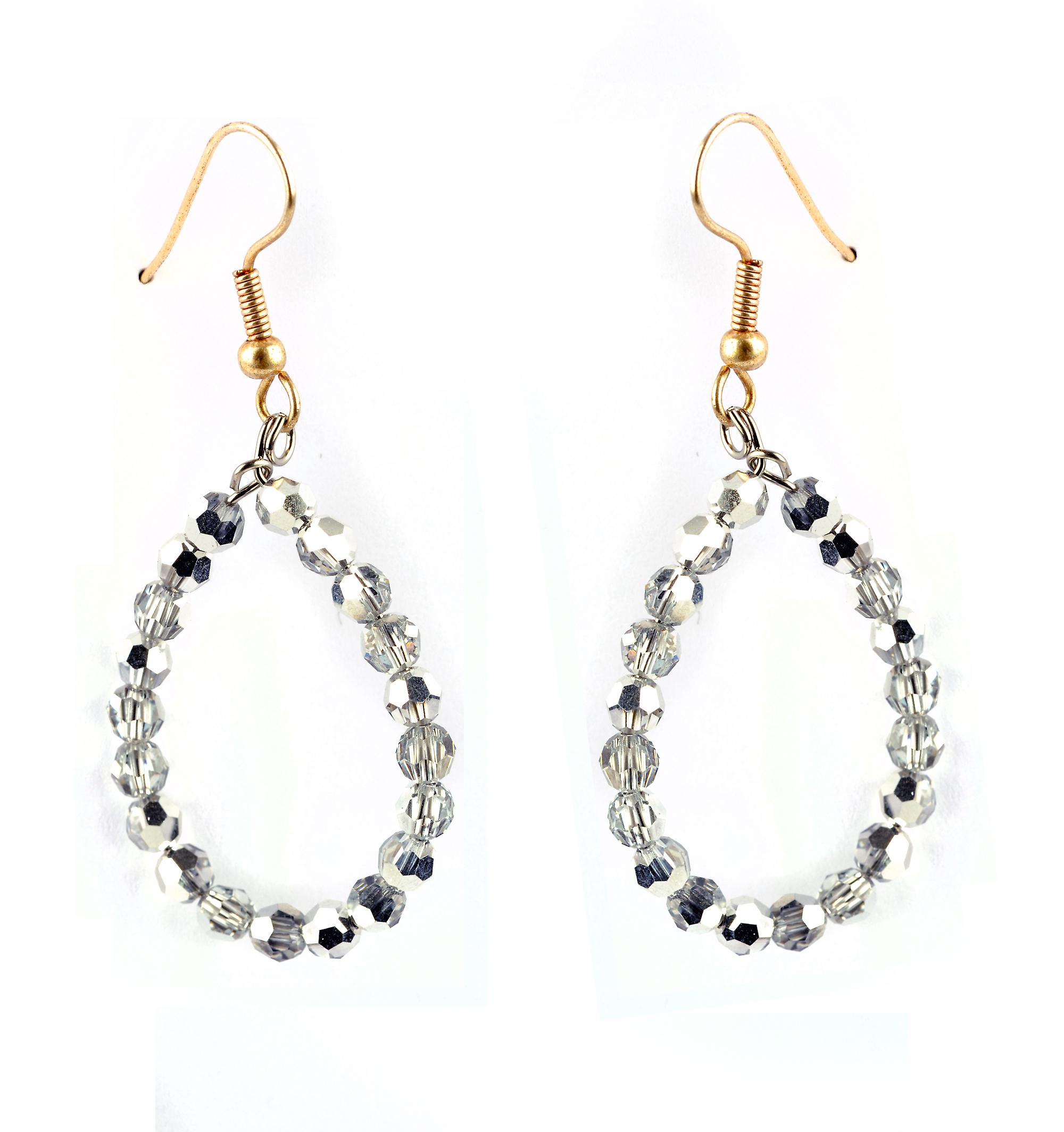 Waooh - Fashion Jewellery - WJ0709 - D'Oreille earrings with Swarovski Strass Silver Color - Colour Gold Frame