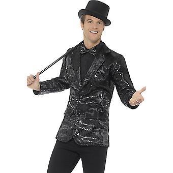 Sequin jakke, Mens, svart
