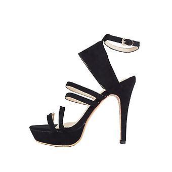 Lovemystyle Multiple Strap Black Suede Platform Heels