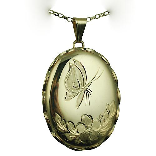 9ct Gold 37x28mm oval hand engraved butterfly fancy wire edge Locket with a belcher Chain 16 inches Only Suitable for Children